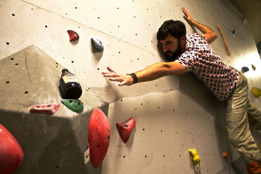 Grab the beer while bouldering